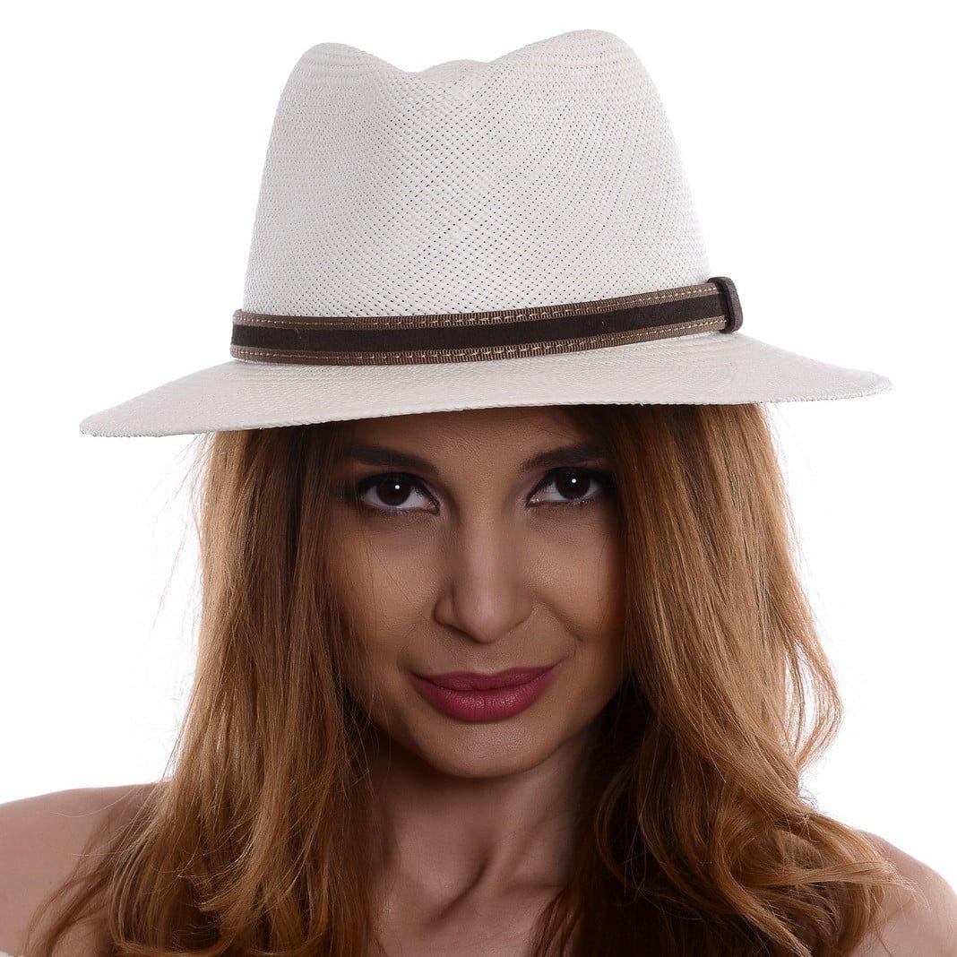 Pălărie Panama Merlin bianco/curea din piele intoarsa maro