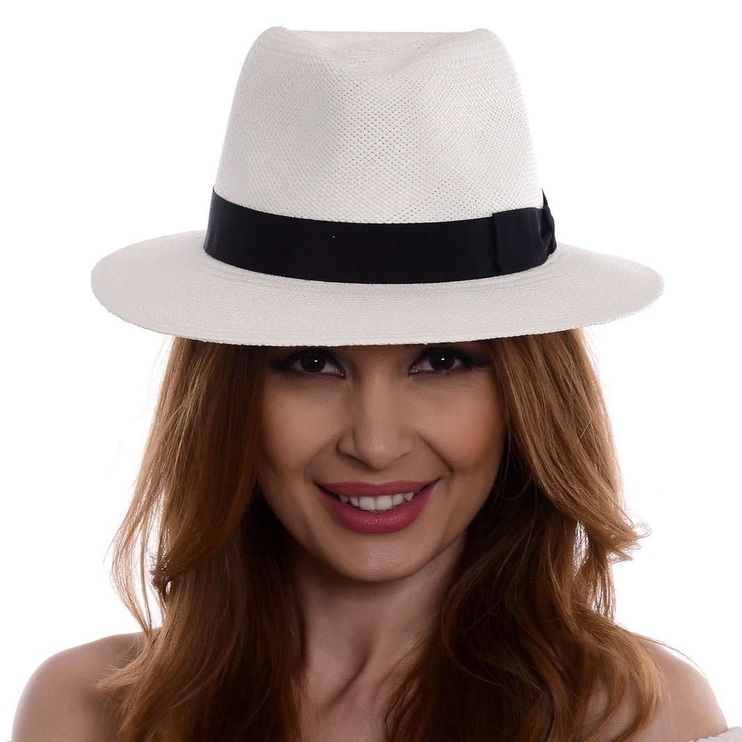 Pălărie Panama Merlin bianco/negru