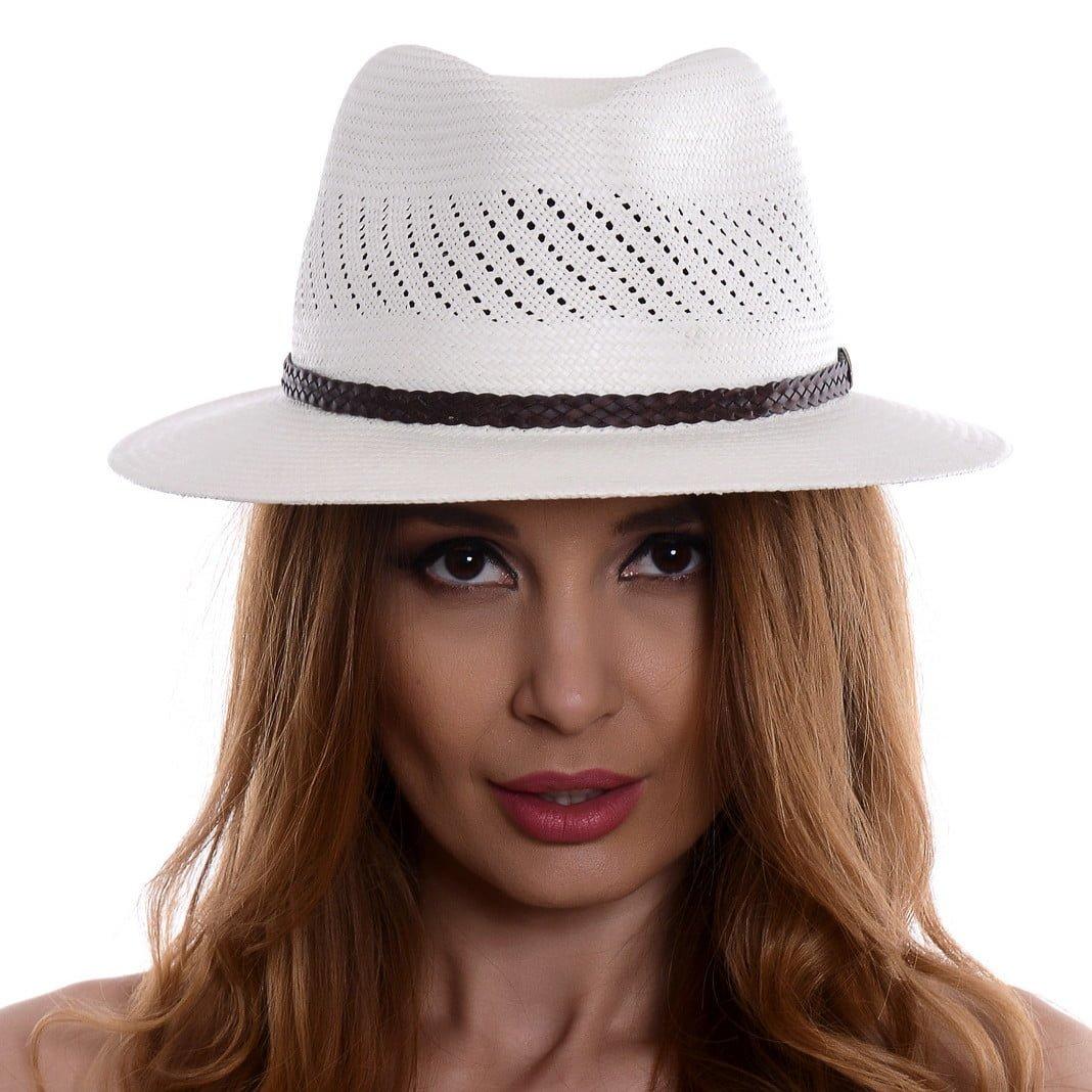 Pălărie Panama Jazz randa/curea piele casual maro