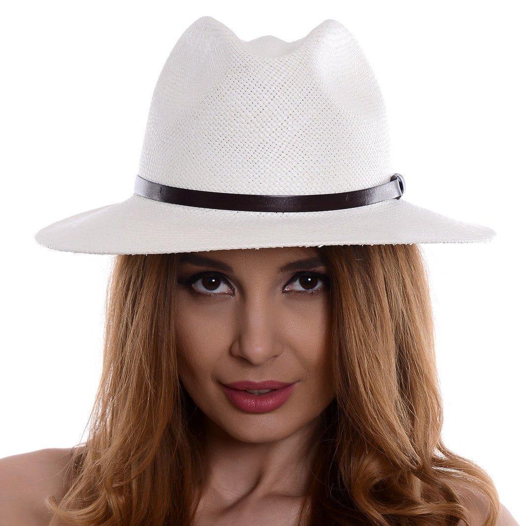 Pălărie Panama Bonnie bianco/curea piele maro