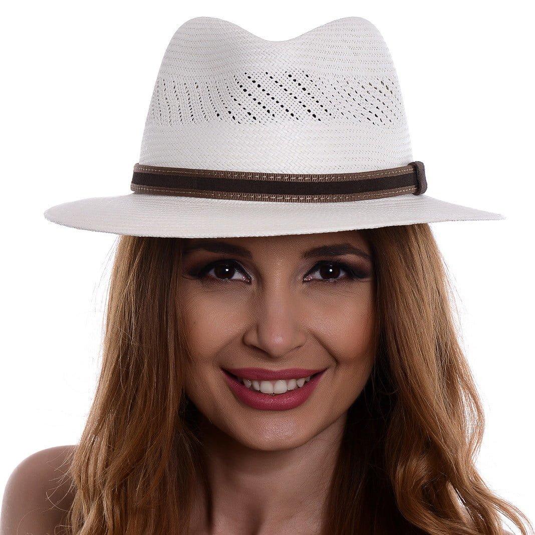 Pălărie Panama Jazz randa/curea piele intoarsa