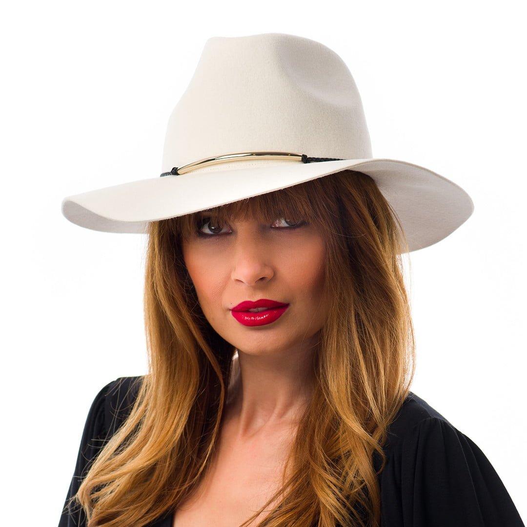 Pălărie Tessa, albă, din velour de iepure