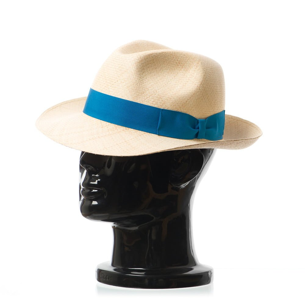 Pălărie Montecristi Superfino Clyde nat/azurro