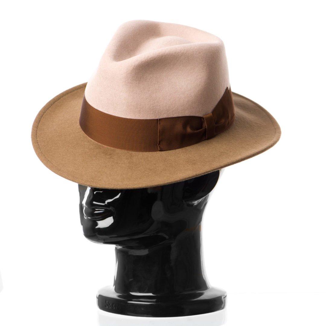 Pălărie Adami, bicolore, bor maro/coroana nude