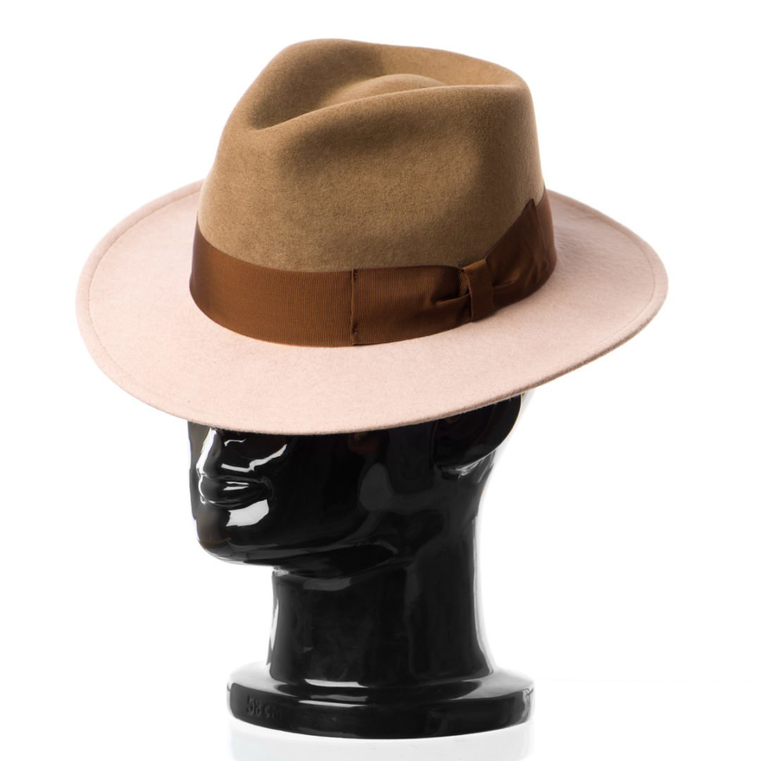 Pălărie Adami, bicolore, bor nude/coroana maro