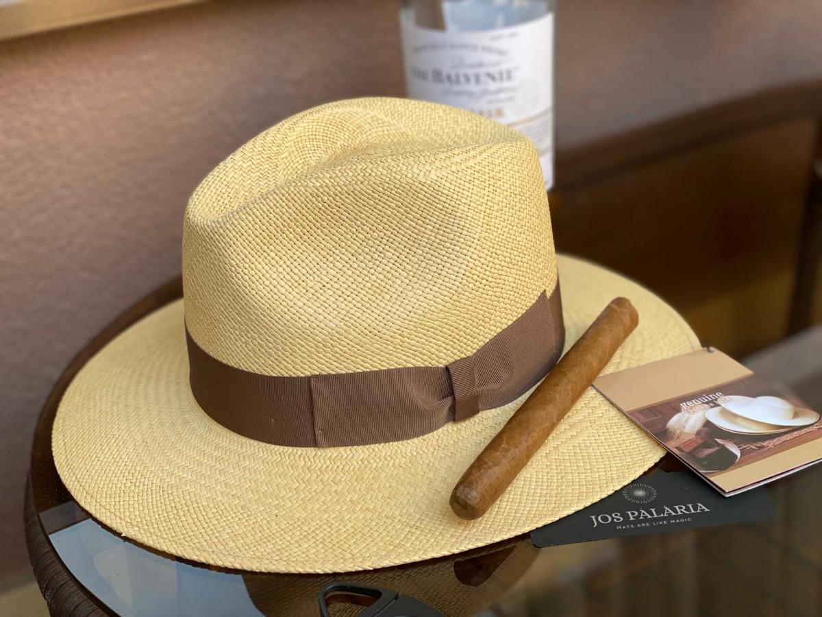Palarie Panama Bonnie, culoare tabac, banda maro castagna
