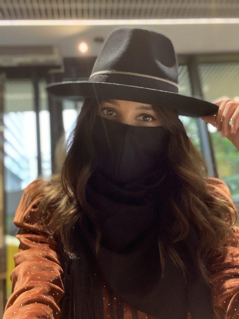 SET Palarie Nick neagra + masca bumbac + esarfa casmir neagra