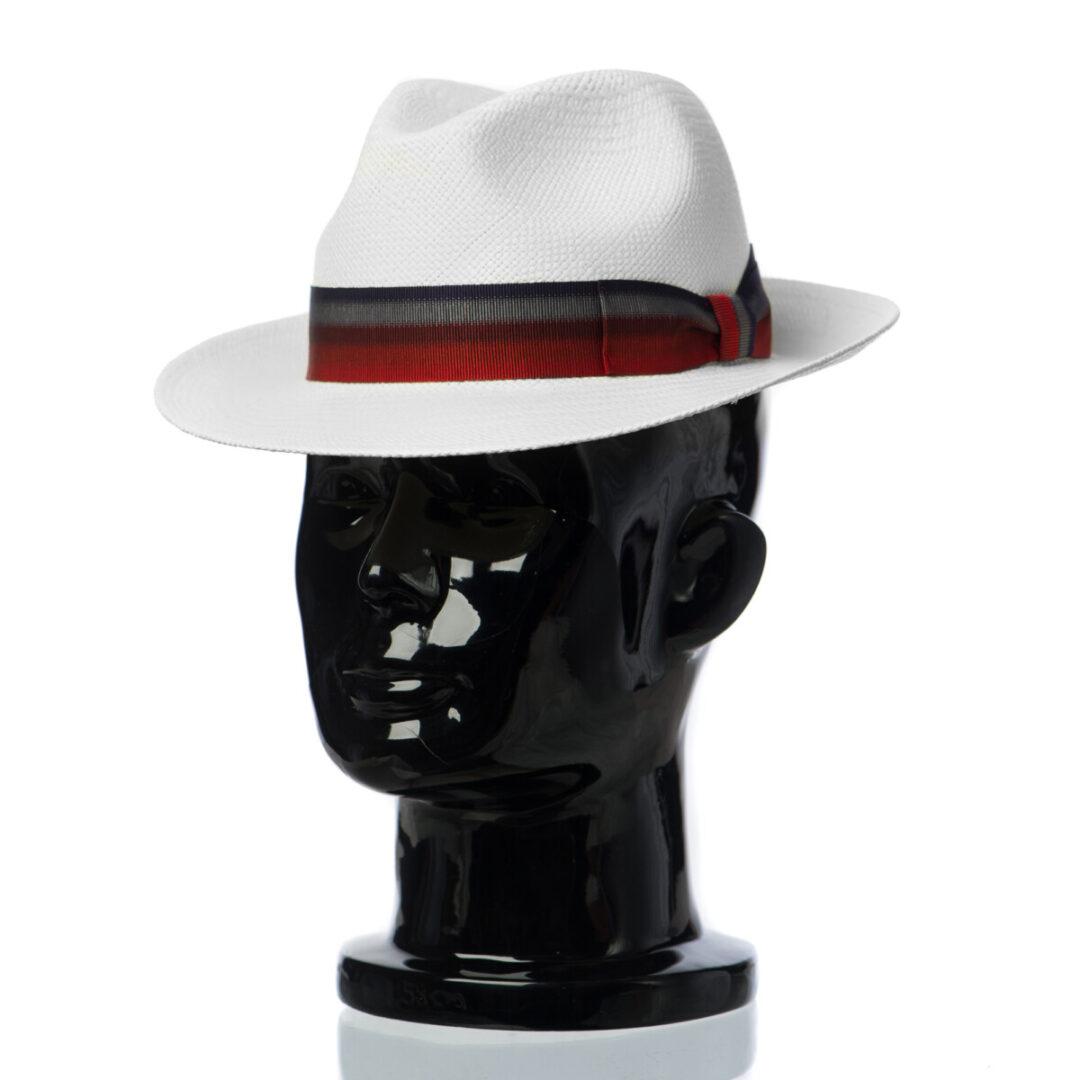 Pălărie Panama Clyde bianco/bandă rosu albastru