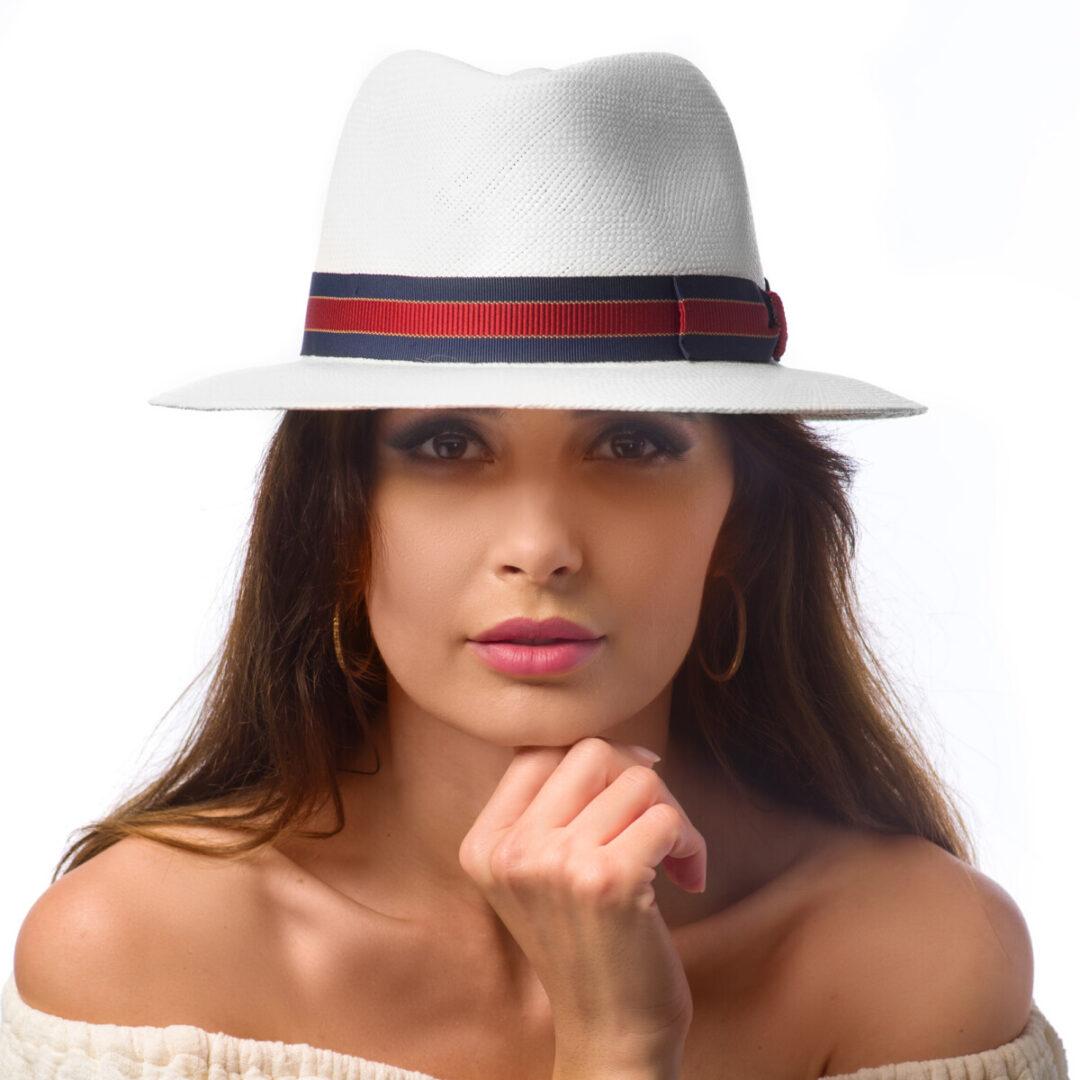 Pălărie Panama Merlin bianco/nero grigio
