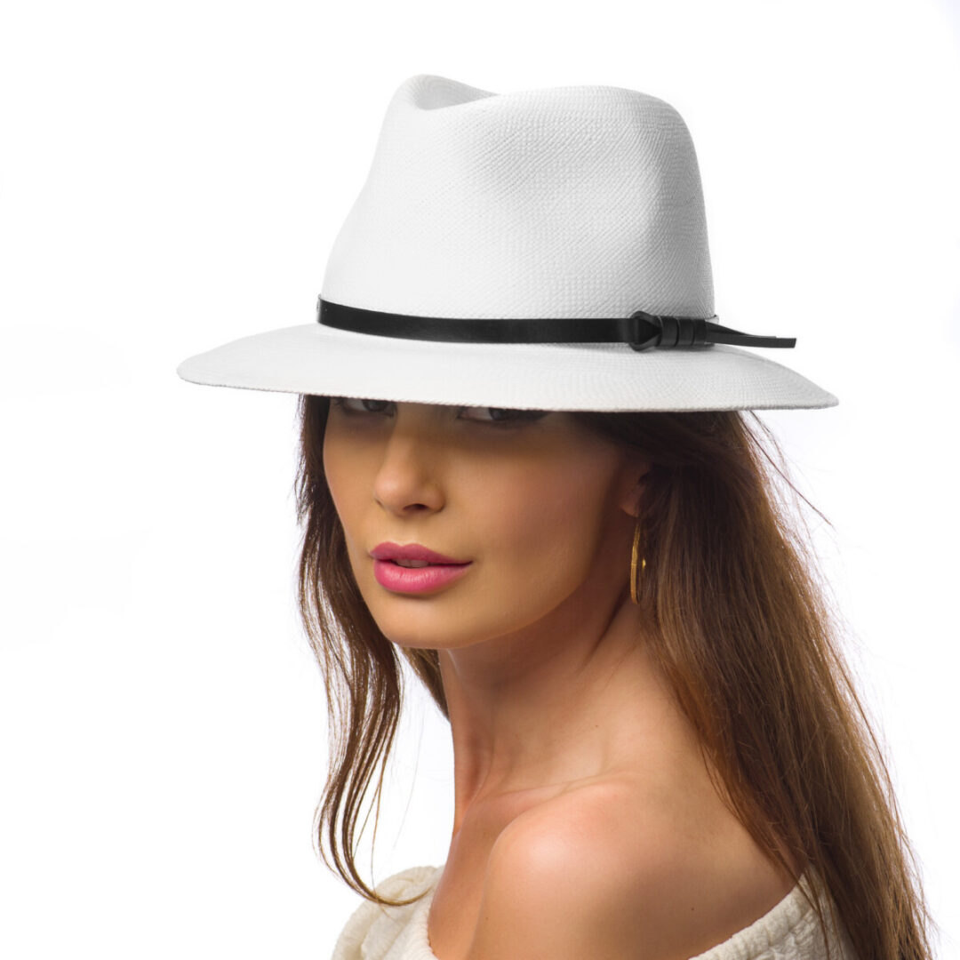 Pălărie Panama Merlin bianco/curea din piele maro