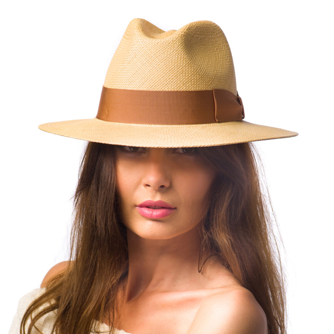 Palarie Panama Bonnie, culoare tabac, banda maro deschis