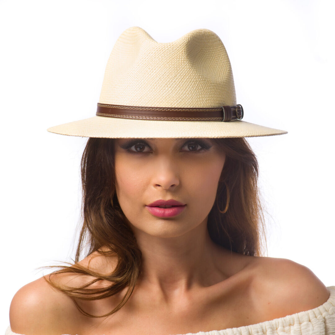 Pălărie Panama Banfi naturale/curea piele maro