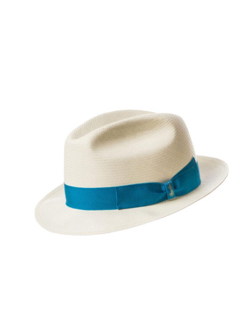 Borsalino Panama bor mic alb/blue electric