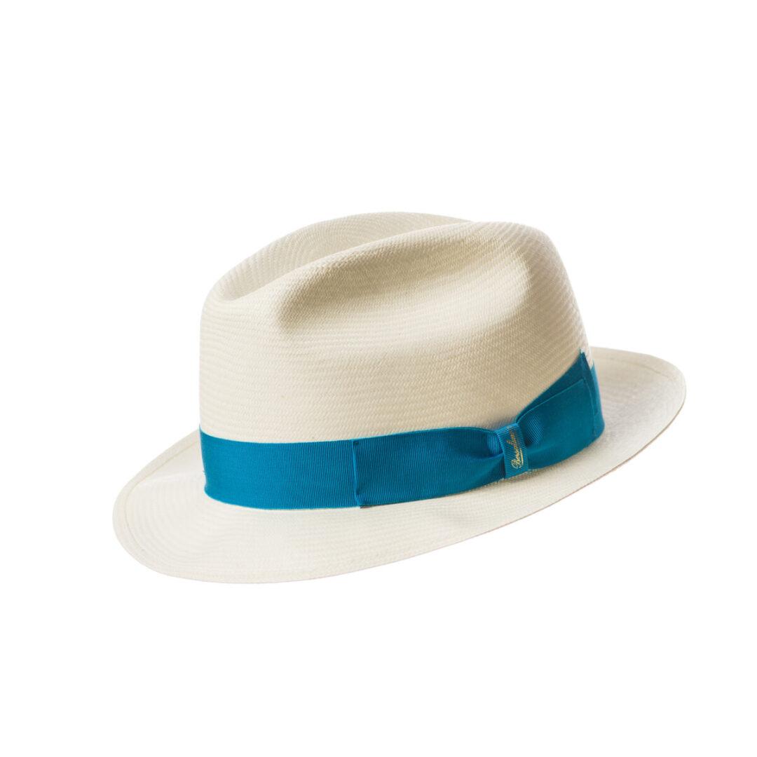 Borsalino Panama bor mic alb/blue electric (colectia SS2020)