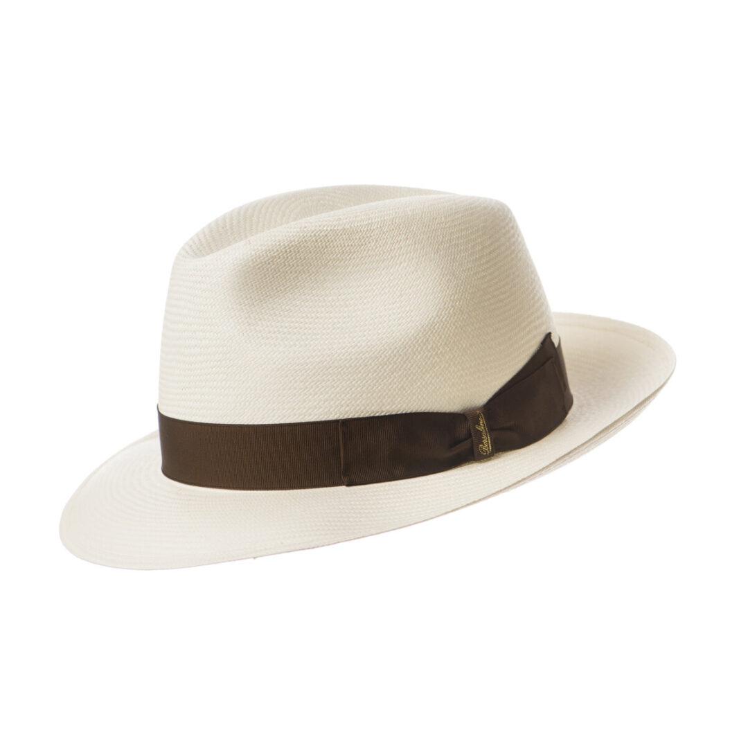 Borsalino Panama bor mic alb/moro (colectia SS2020)
