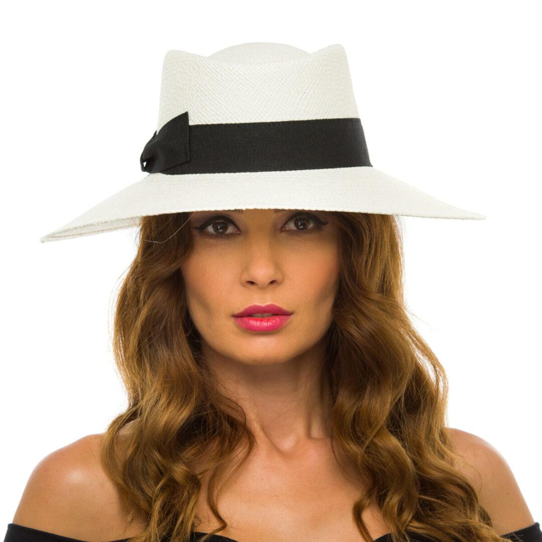 Pălărie Panama Atena, bianco/nero