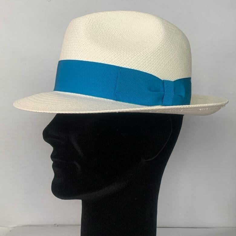 Pălărie Panama Clyde bianco/bandă azzuro